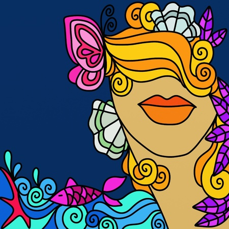 abstract illustration with womans face and the sea illustration