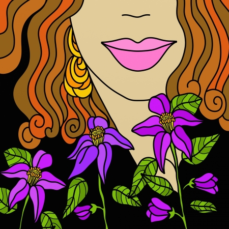 Abstract face with purple flowers Stock Photo - 13653657