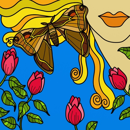 abstract background with woman and butterfly photo