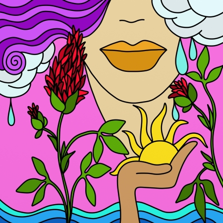 abstract woman: abstract background with mother nature