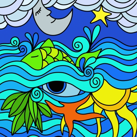 moon fish: abstract background with the sea at night