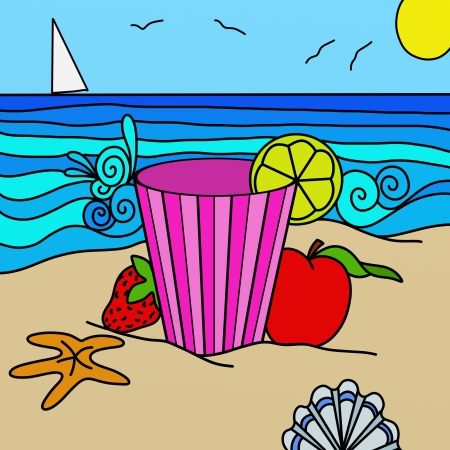 abstract background with a drink at the beach photo