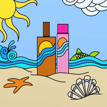 abstract background with sunscreen at the beach photo