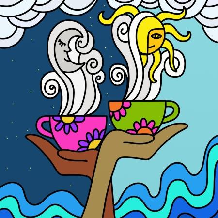 buonanotte: sfondo astratto con camomilla e caffè