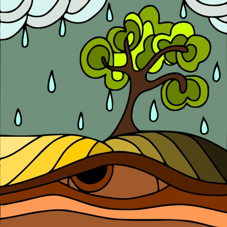 leaden: abstract illustration with trees in autumn