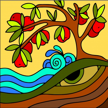 abstract illustration with red apple tree Vector