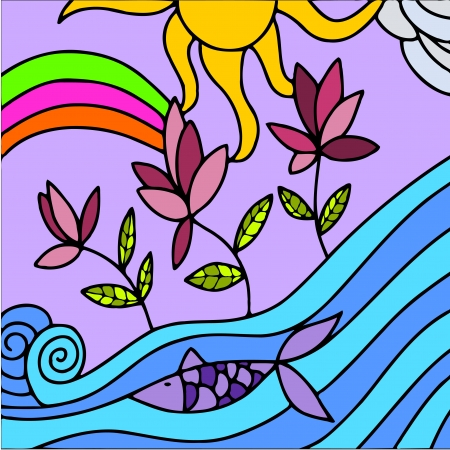 abstract illustration with flowers and sea Vector