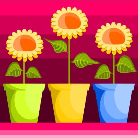 colored background with vases of sunflowers Vector