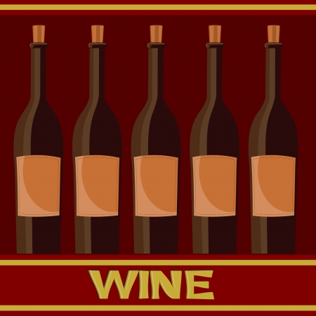 colored background with bottles of wine Vector