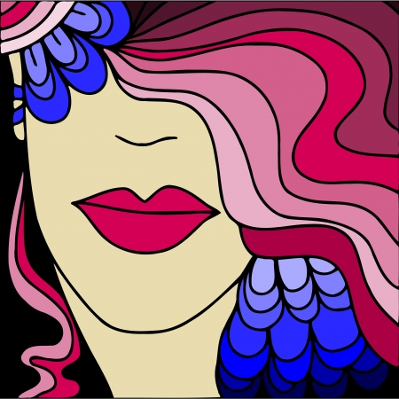 colorful background with womans face Vector