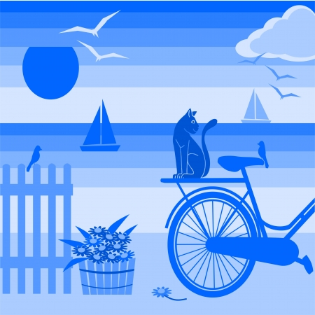 abstract background with seaside holidays Stock Vector - 14283580