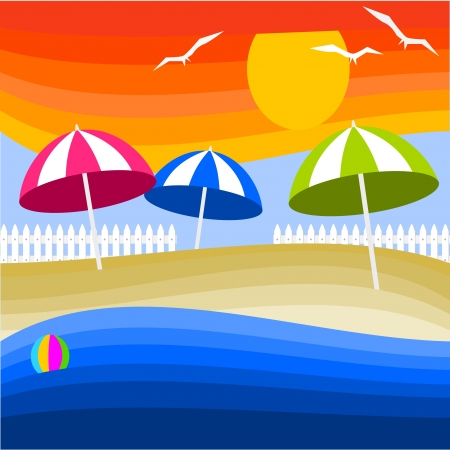 abstract background with seaside holidays Stock Vector - 14283581