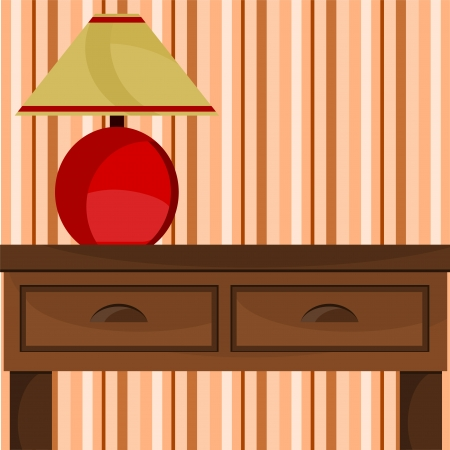 background with a lamp on the table Vector