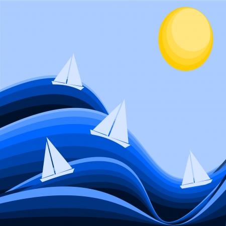 bateau voile: fond avec les vagues et les bateaux Illustration