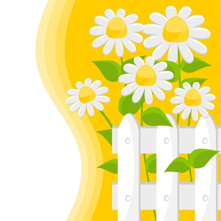yellow background with white flowers Vector