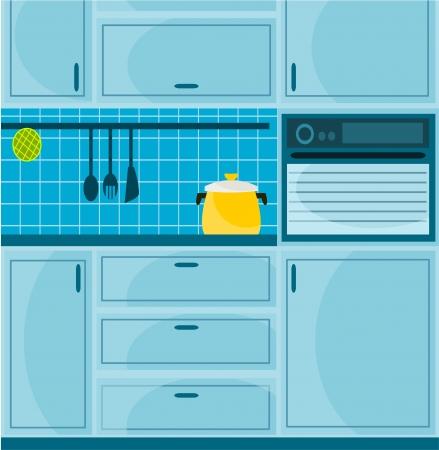 pot holder: illustration with blue kitchen Illustration