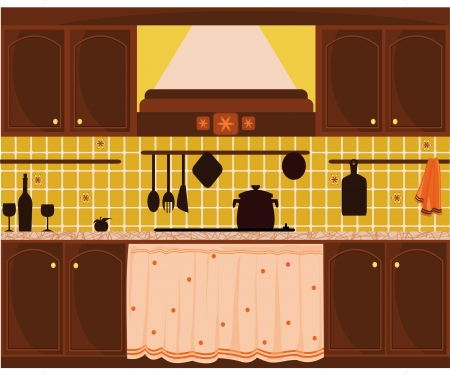 illustration with rustic kitchen Vector
