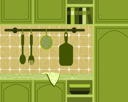 illustration with green kitchen Vector