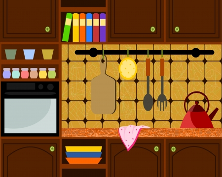 rustic kitchen: illustration with brown rustic kitchen Illustration
