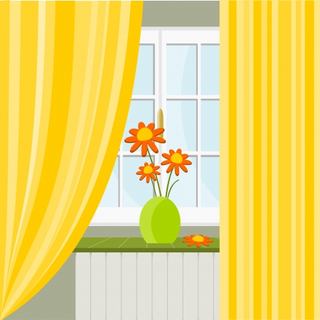 Illustration with window and vase of flowers Vector