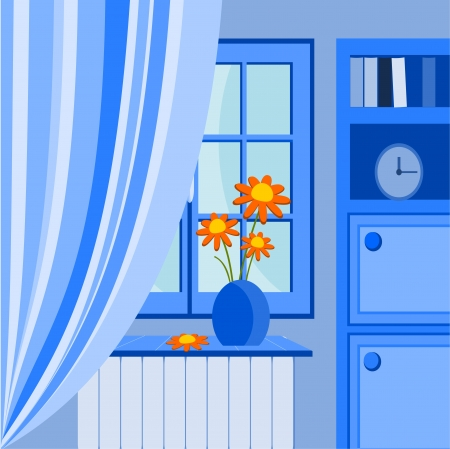 Illustration with window and vase of flowers Stock Vector - 14416431