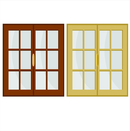 wooden window: illustration with two colored windows