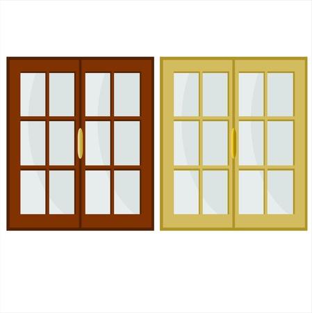 puertas de cristal: ilustraci�n con dos ventanas de colores