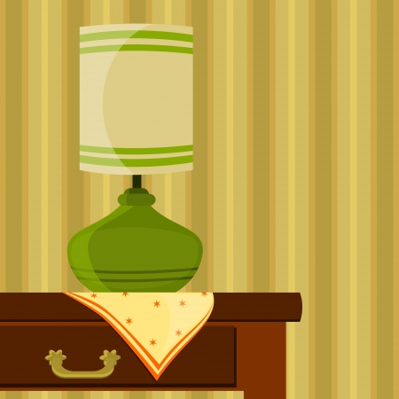 table lamp: illustration with green lamp on the table Illustration