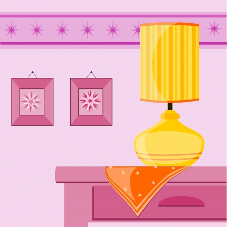 pink lamp: illustration with yellow lamp on the table Illustration