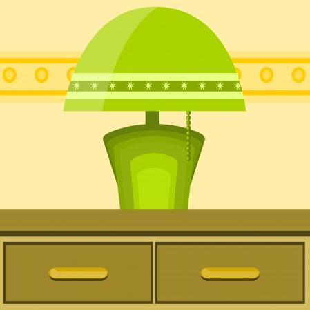 vellum: illustrazione con luce verde sul tavolo Vettoriali