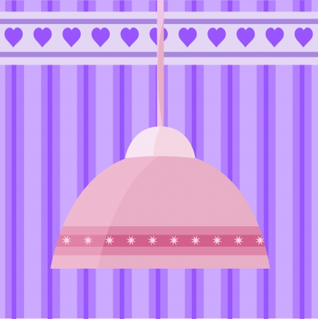 illustration with pink chandelier decorated Vector