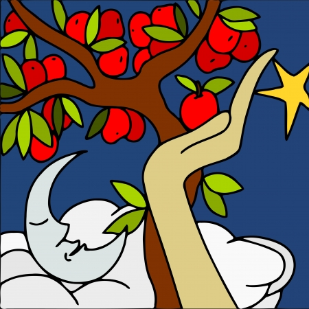 picking fruit: abstract illustration with tree of apples
