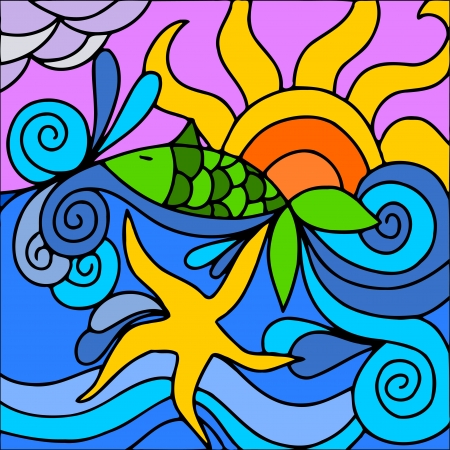 abstract illustration with sea and sun