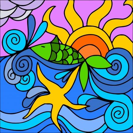 ilustracion: ilustraci�n abstracta con mar y sol