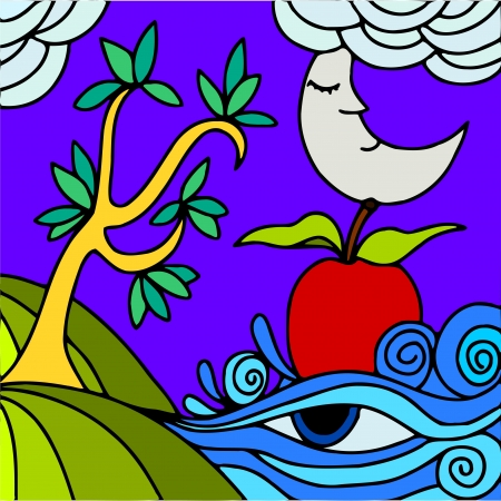half of apple: abstract illustration with tree and apple Illustration