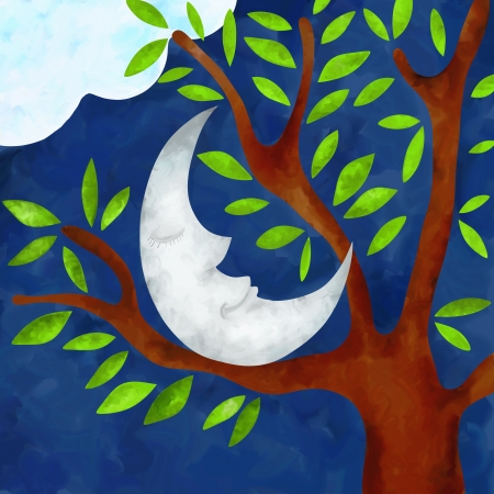 illustration with moon on tree illustration