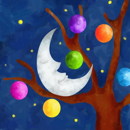 illustration with Christmas moon illustration
