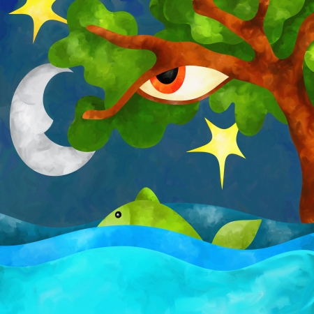 moon fish: abstract background with tree and sea