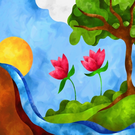 oil paintings: abstract background with flowers and waterfall Stock Photo