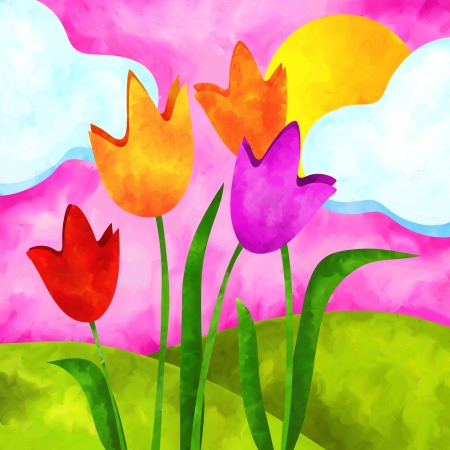 pink hills: abstract background with tulips and sun