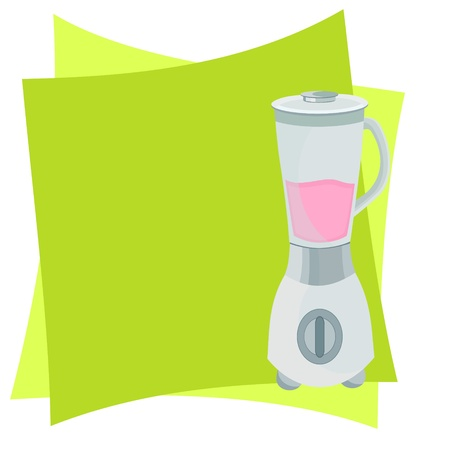퓌레: 믹서와 녹색 배경 그림
