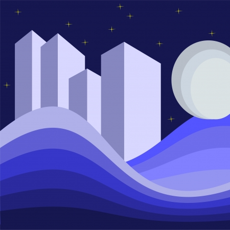 abstract illustration with buildings at night Vector