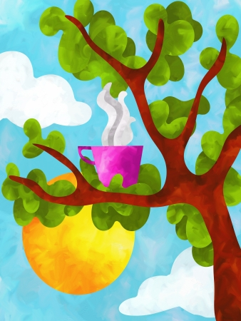 camomile tea: drawing with hot cup of tree