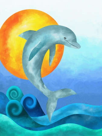 abstract background with jumping dolphin Stock Photo