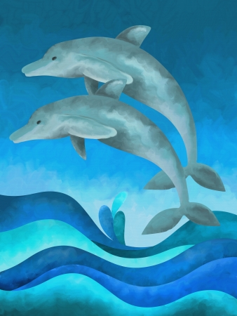background with two blue dolphins photo