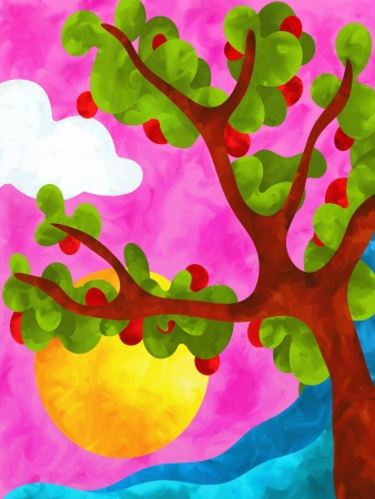 abstract design with apple tree photo