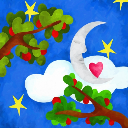 abstract background with moon and apple trees photo