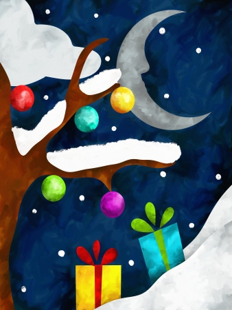 Christmas background with moon and gifts photo