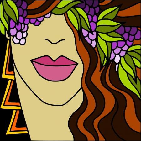 purple grapes: background with face of a woman with brown hair Illustration