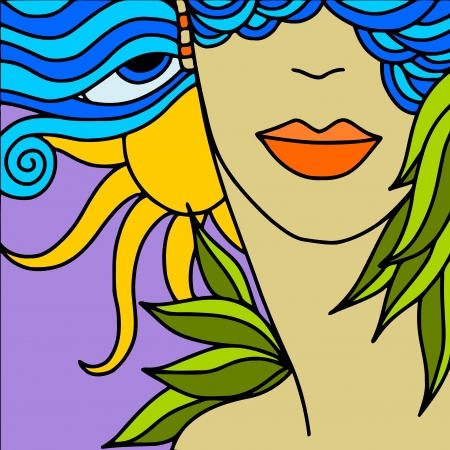 fantasia: abstract background with womans face Illustration